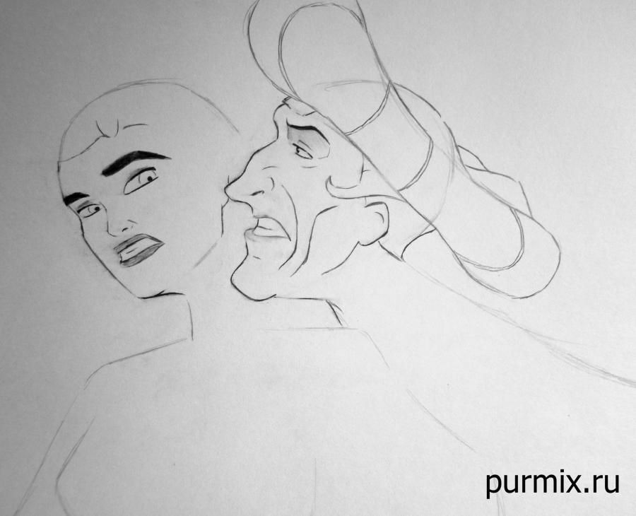 How to draw the grandmother Iva from Pokakhontas with a pencil step by step 5