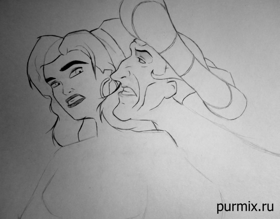 How to draw the grandmother Iva from Pokakhontas with a pencil step by step 6
