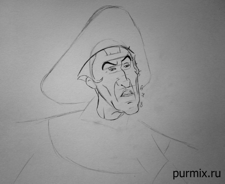 How to draw the captain John Smith and Pokakhontas with a simple pencil 4