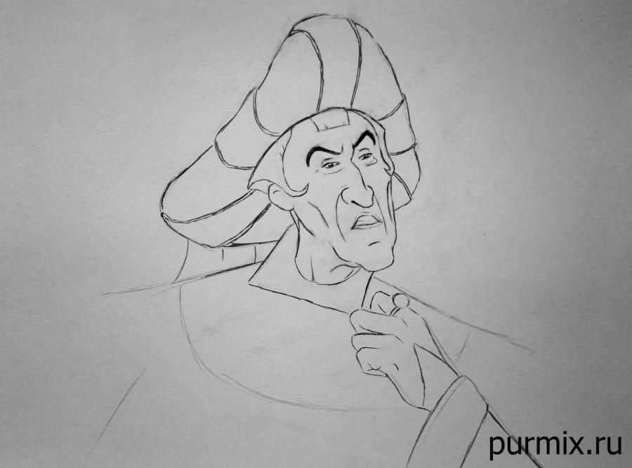 How to draw the captain John Smith and Pokakhontas with a simple pencil 6