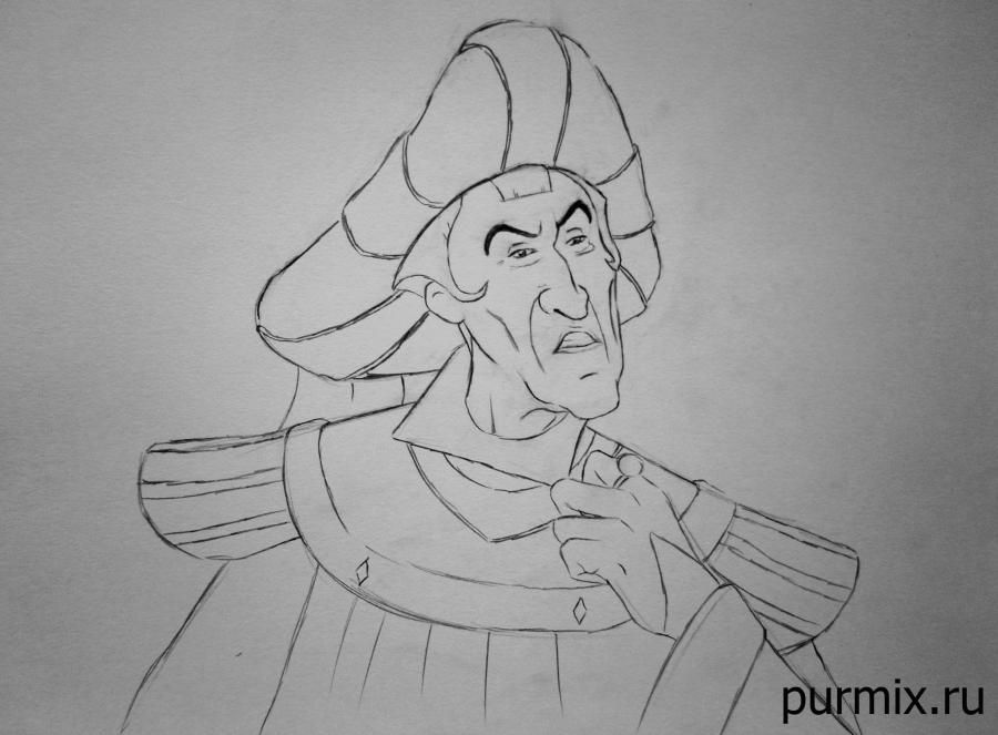 How to draw the captain John Smith and Pokakhontas with a simple pencil 7