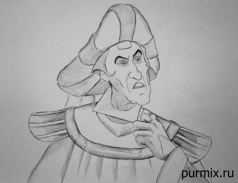 How to draw Frollo from the Humpback from Notre Dame with a simple pencil