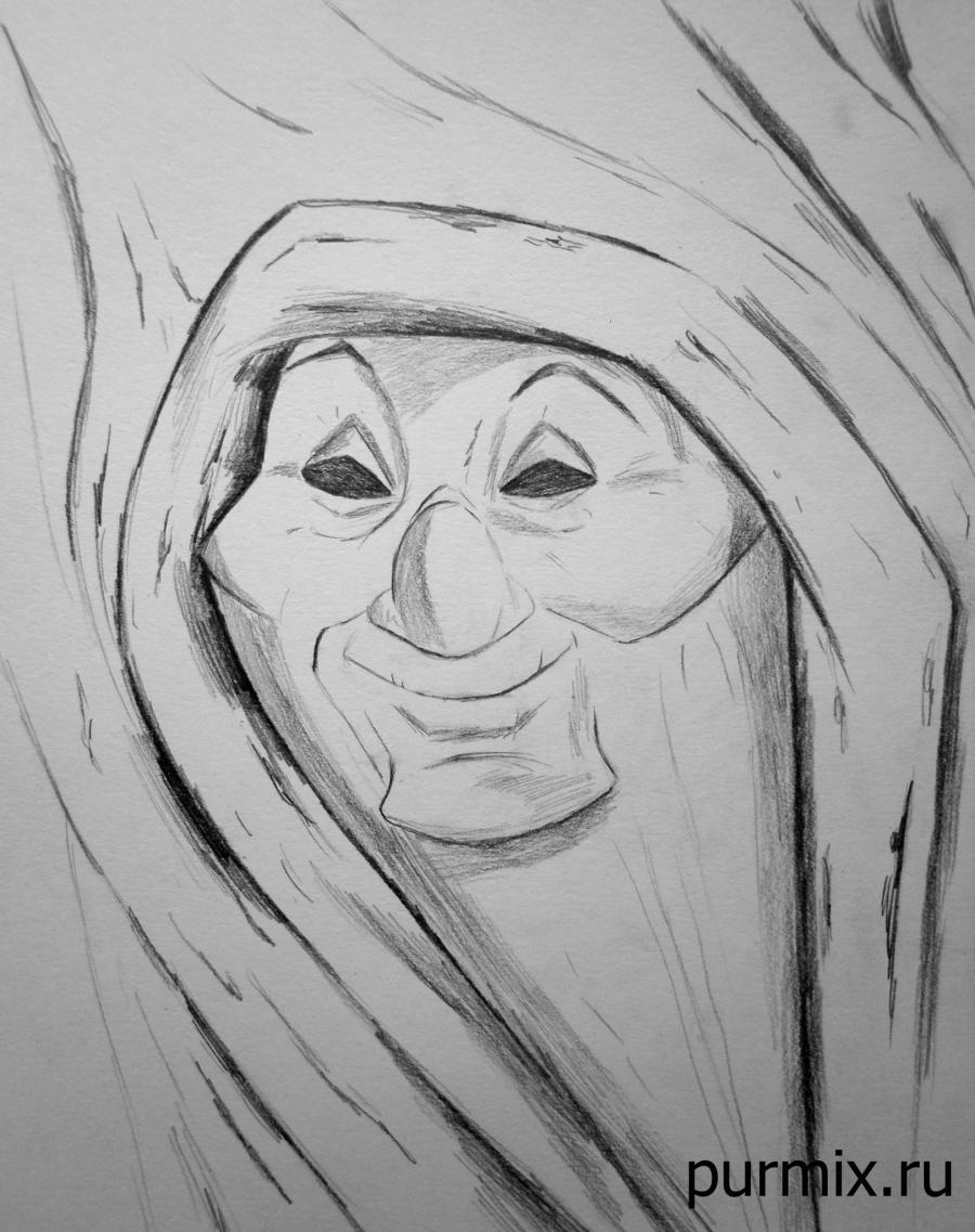 How to draw the grandmother Iva from Pokakhontas with a pencil step by step
