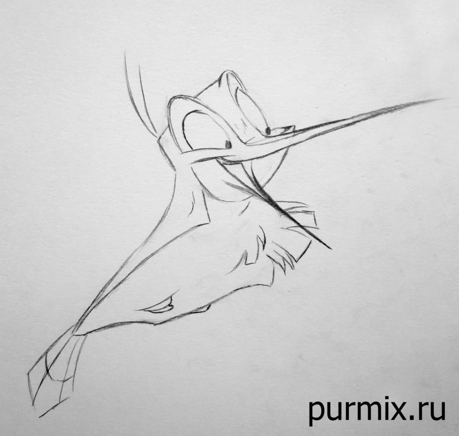 How to draw Miko from Pokakhontas with a simple pencil 6