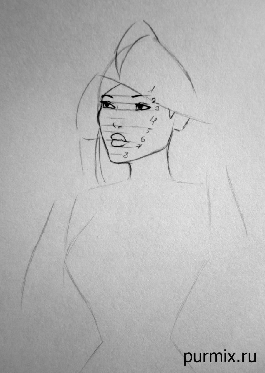 How to draw a portrait Pokakhontas with a simple pencil step by step 4