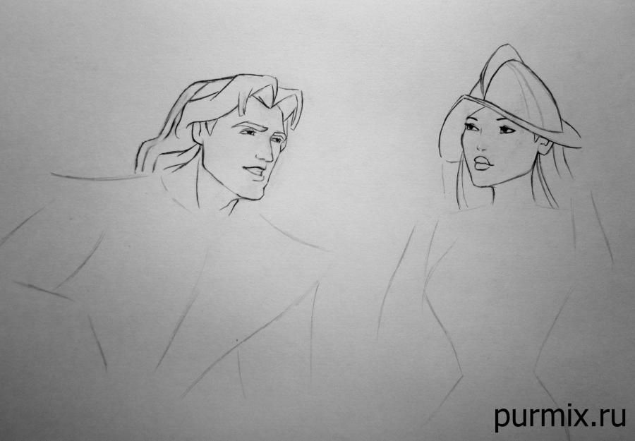 How to draw a portrait Pokakhontas with a simple pencil step by step 7