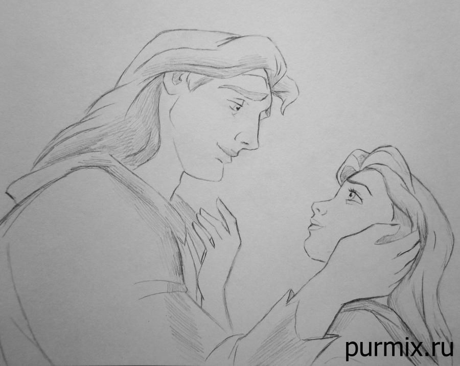 How to draw B?ll and the prince Adam from the Beauty and the Monster with a pencil