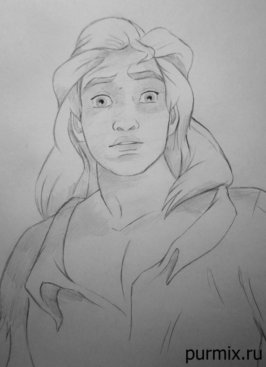 How to draw the prince Adam from the Beauty and the Monster with a simple pencil