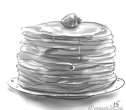 How to draw a pile of pancakes with a pencil step by step