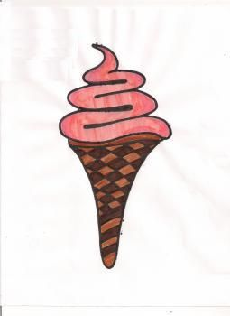 How to draw ice cream a horn with a pencil step by step