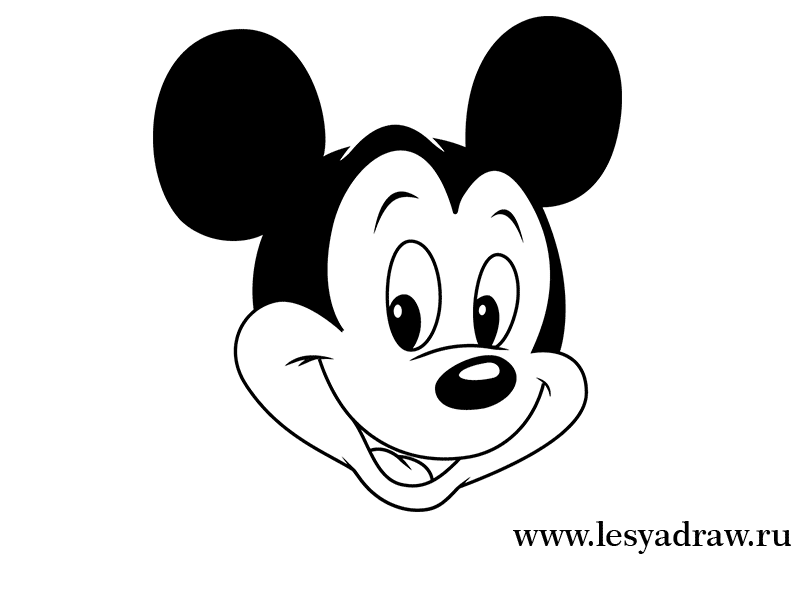 How to draw Minnie Maus's head with a pencil step by step