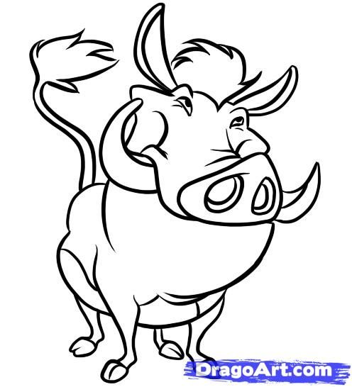 How to draw Pumba from The Lion King with a pencil step by step