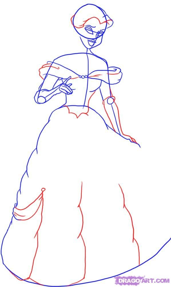 How to draw the Cinderella with a pencil step by step 4