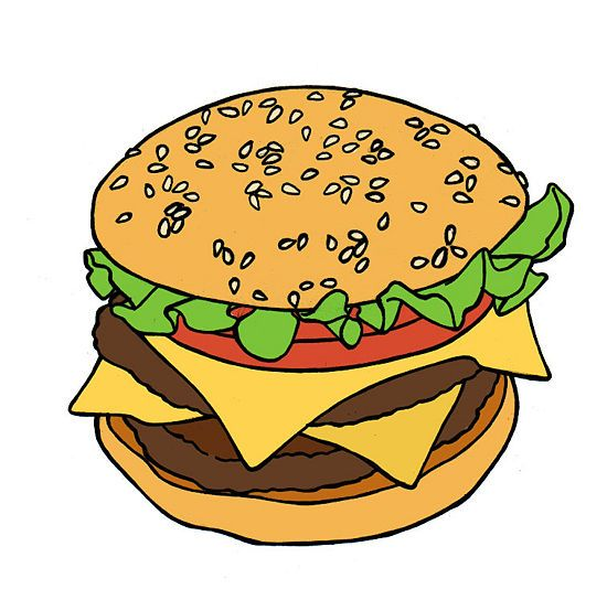 How to draw a hamburger with a pencil step by step