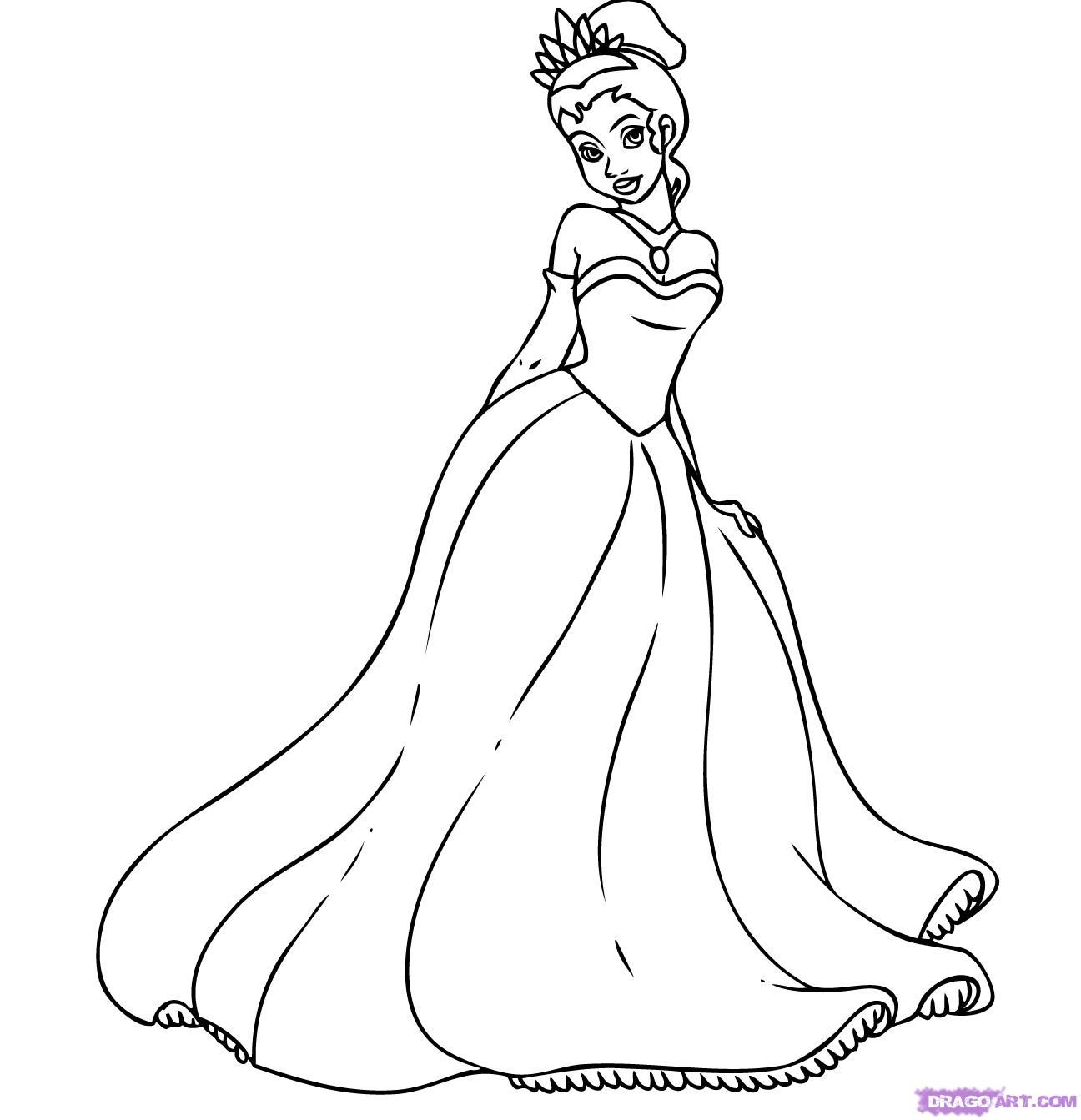 How to draw the Princess Tiana with a pencil step by step