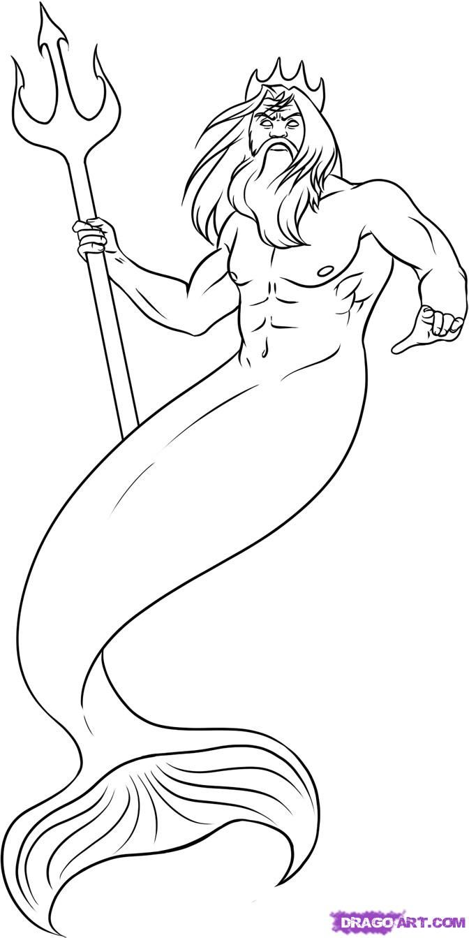 How to draw Poseidon from the animated film the Little Mermaid with a pencil step by step
