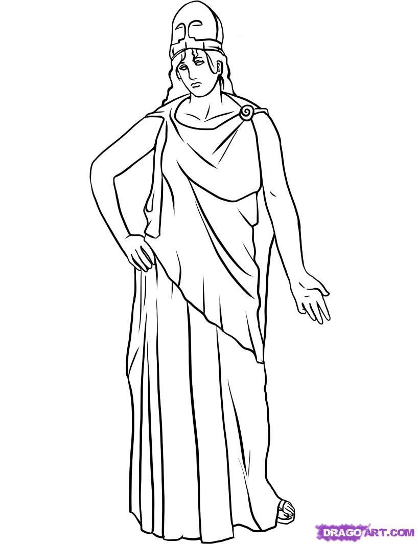 How to draw the goddess Athena with a pencil step by step