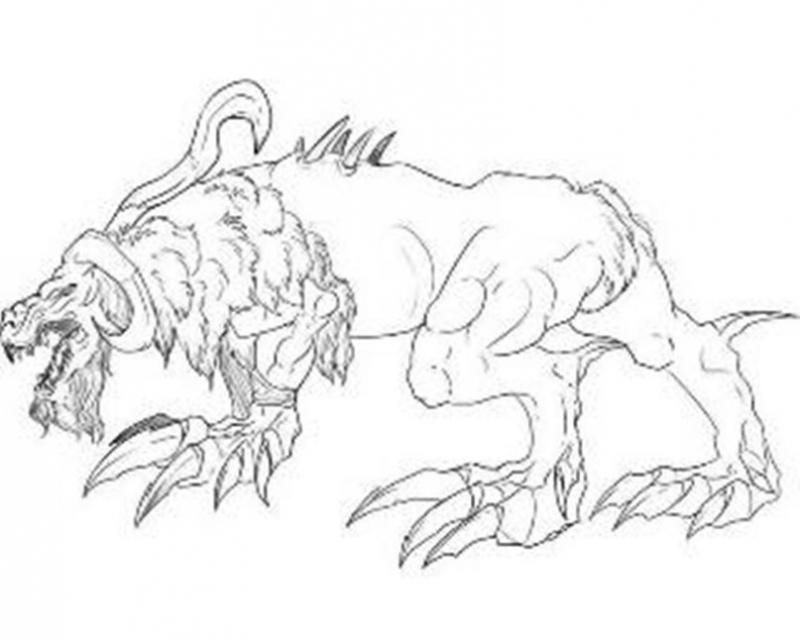 How to draw a Cerberus with a pencil step by step