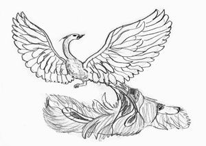 How to draw the Firebird on paper with a pencil step by step