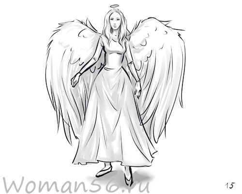 How to draw the girl angel with a pencil step by step
