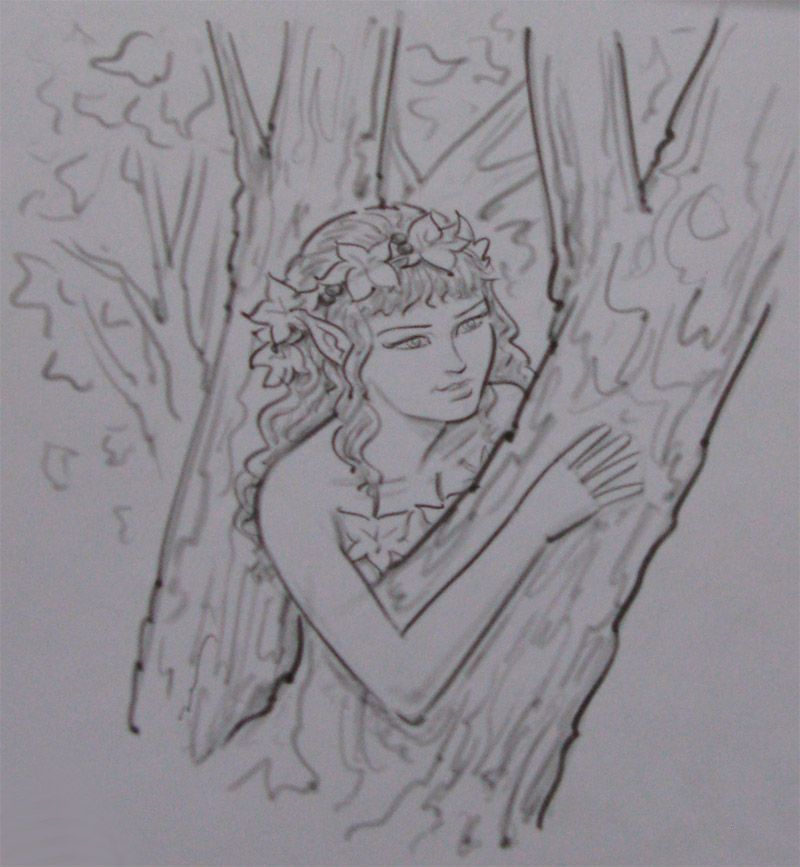 How to draw the Dryad a pencil step by step