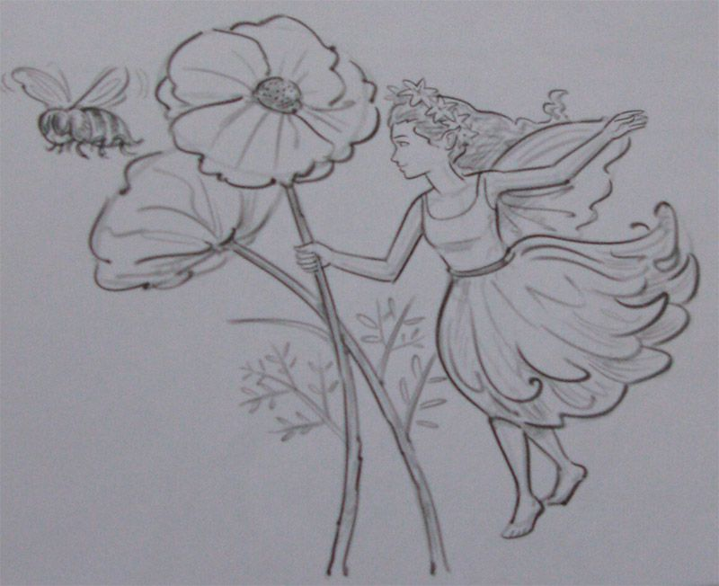 How to draw the Fairy of flowers with a pencil step by step