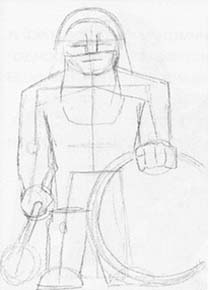 How to draw the Minotaur with a pencil step by step 2