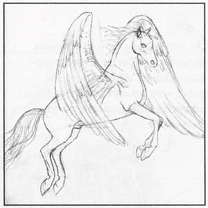 How to draw the Chimera with a pencil step by step 3