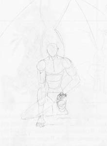 How to draw a mythical being - It is nude a pencil step by step 2