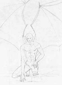 How to draw a mythical being - It is nude a pencil step by step 5