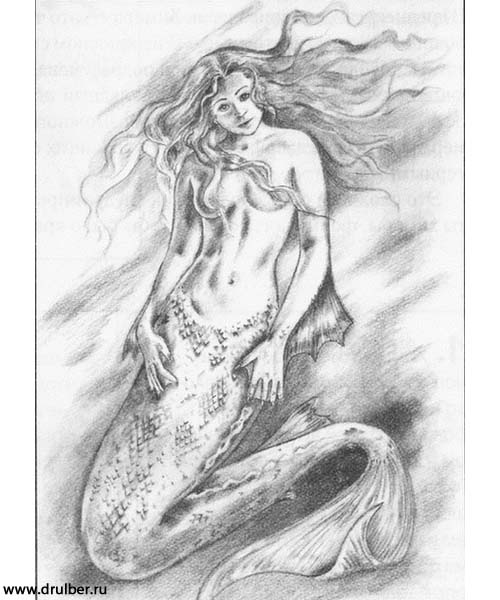 How to draw the Mermaid with a pencil step by step