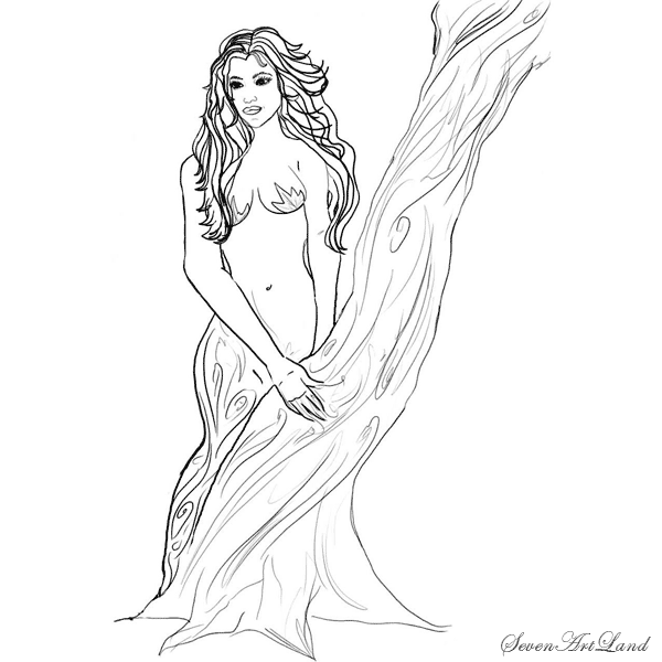 How to draw the Dryad with a pencil step by step