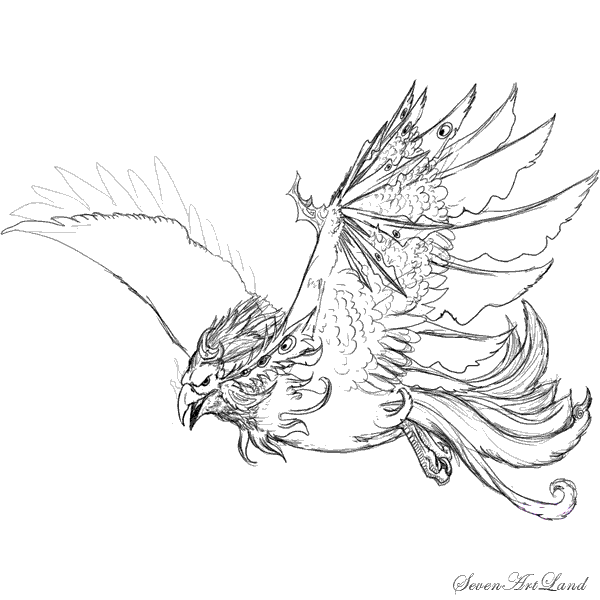 How to draw the Heavenly Phoenix with a pencil step by step