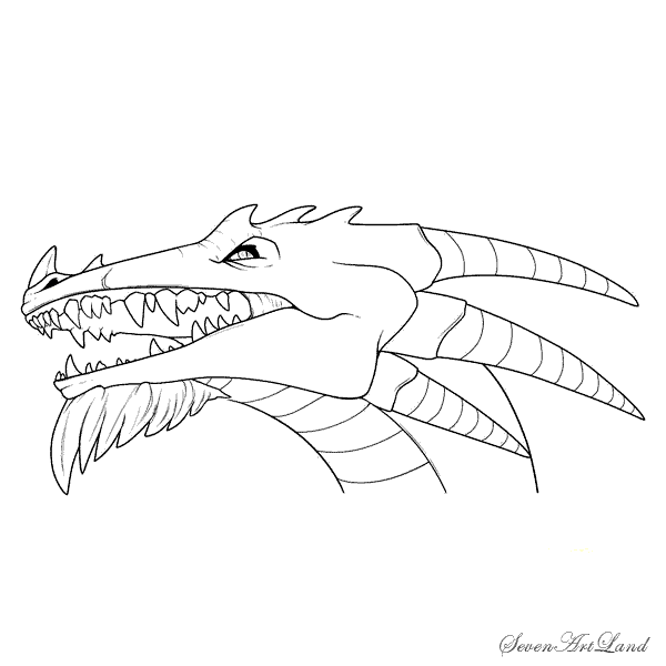 How to draw the head of a horned Dragon with a pencil step by step