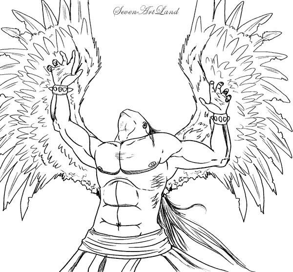 How to draw the Fallen Angel with a pencil step by step