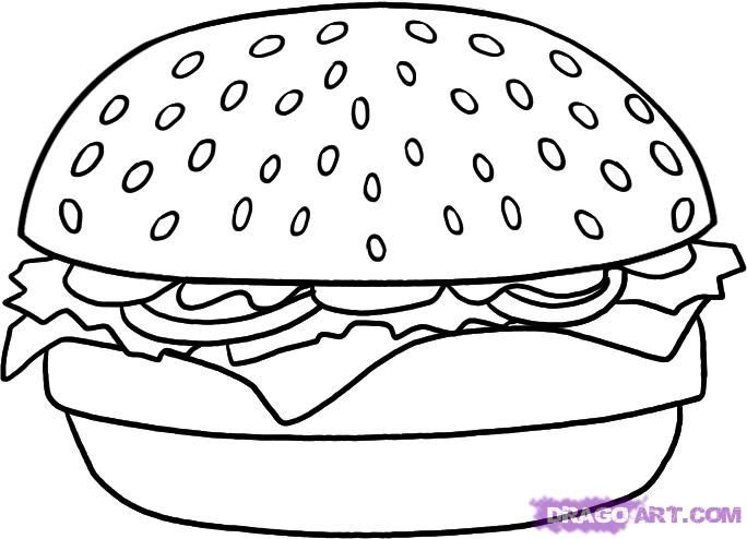 How to draw the Hamburger with a pencil step by step