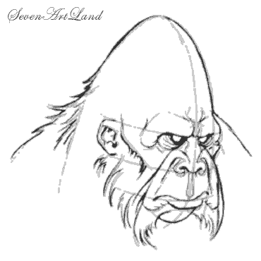 How to draw the head of the yeti with a pencil step by step