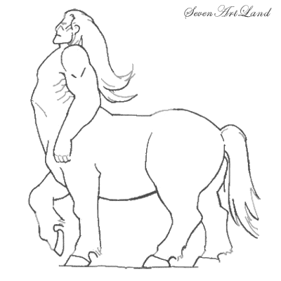 How to draw the Centaur with a pencil step by step