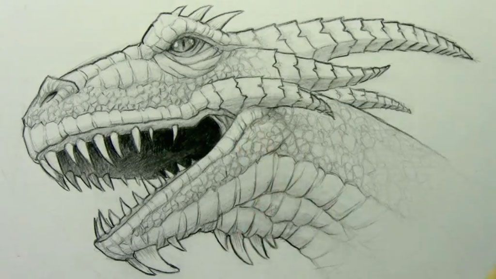 How to draw the realistic head of a dragon with a pencil step by step