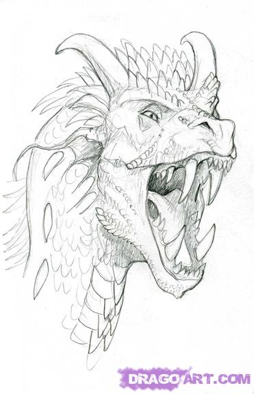 How to draw the realistic head of the Dragon with a pencil step by step