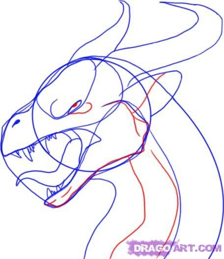 how to draw the head of a dragon step by step 7