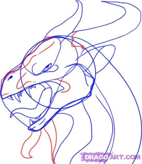 how to draw the head of a dragon step by step 8