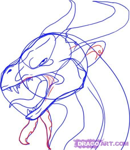 how to draw the head of a dragon step by step 9