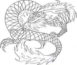 Nous dessinons le dragon rouge chinois progressivement