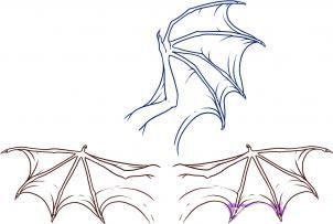 Nous dessinons les ailes du dragon progressivement