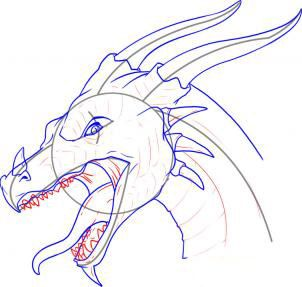 How to draw the head of a dragon step by step 11