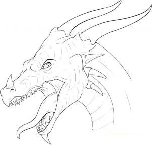 How to draw the head of a dragon step by step 12