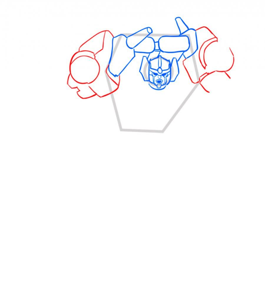 How to draw a transformer Shokveyva with a pencil step by step 5