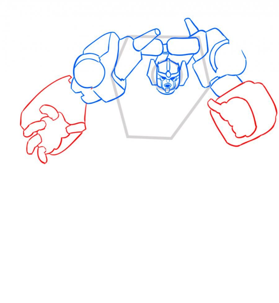 How to draw a transformer Shokveyva with a pencil step by step 6