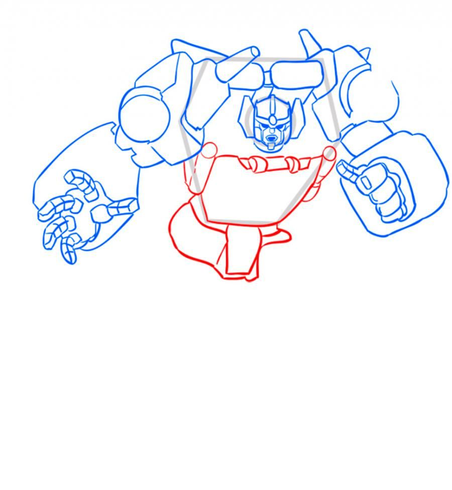 How to draw a transformer Shokveyva with a pencil step by step 7